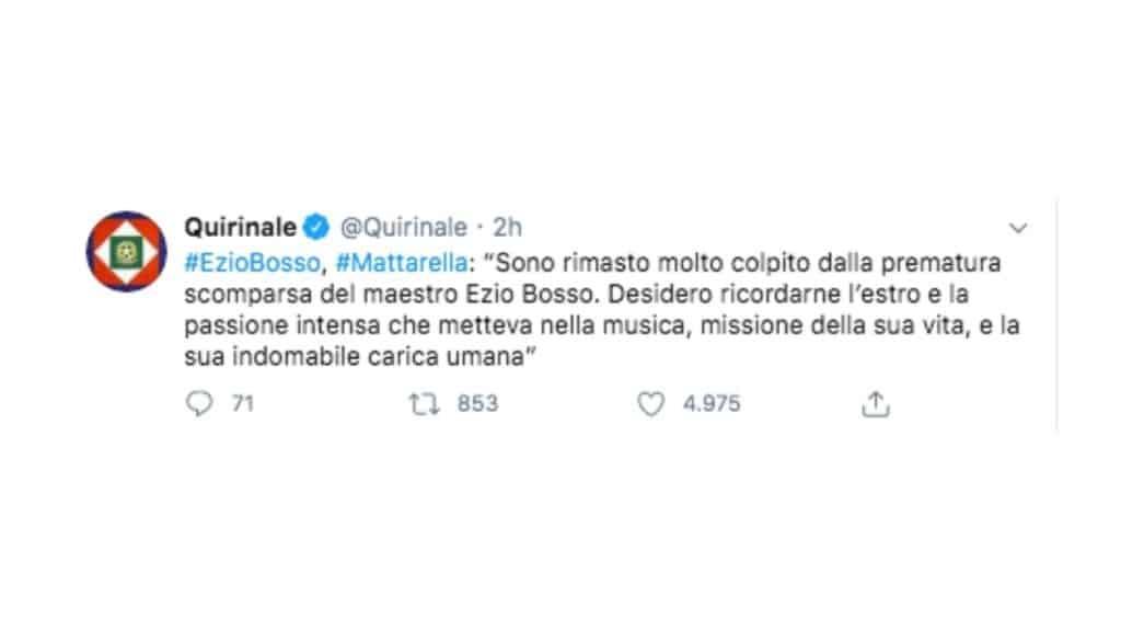 il post twitter di Sergio Mattarella per Ezio Bosso