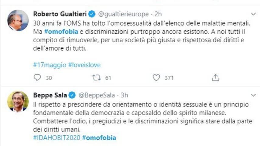 I tweet del sindaco di Milano Beppe Sala e del ministro Gualtieri sulla Giornata Mondiale contro l'Omofobia