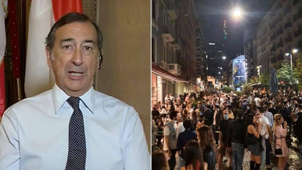 Beppe Sala e immagini della movida a Milano