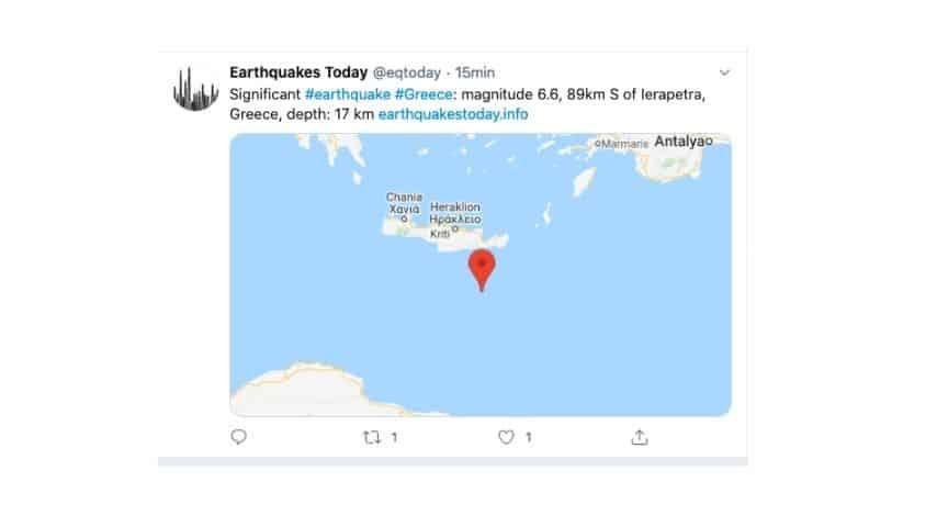 Il tweet riguardante il terremoto