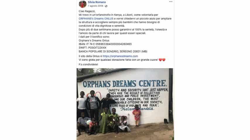 La raccolta fondi lanciata da Silvia Romano per i bambini orfani