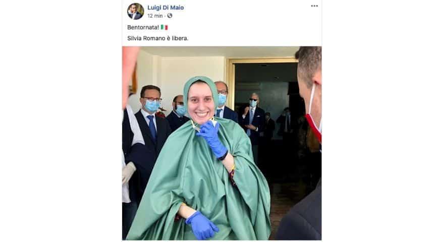 Il post di Luigi Di Maio sul ritorno di Silvia Romano