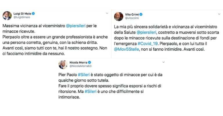 Tweet dei membri del Movimento 5 Stelle su Pierpaolo Sileri