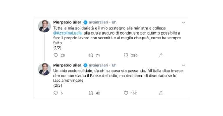 Tweet di Pierpaolo Sileri sulla Ministra Azzolina