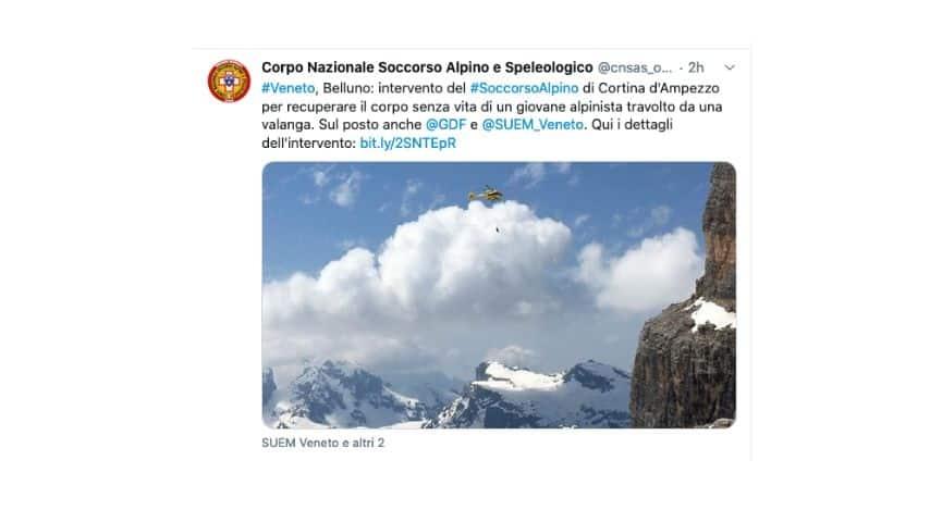 Il Tweet del Soccorso Alpino e Speleologico in merito alle operazioni di soccorso