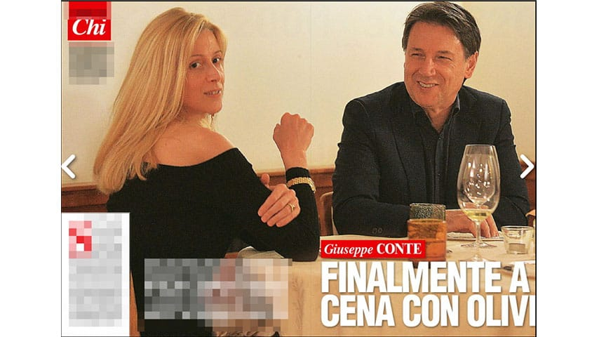 Olivia Paladino e Giuseppe Conte in una foto del settimanale Chi