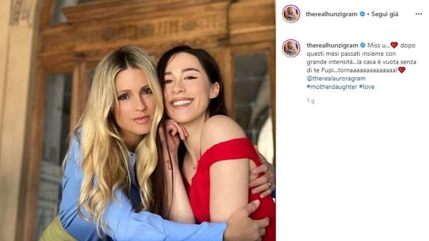 Michelle Hunziker e Aurora Ramazzotti foto instagram conduttrice