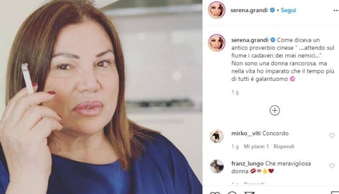 Il post di Serena Grandi pubblicato su Instagram