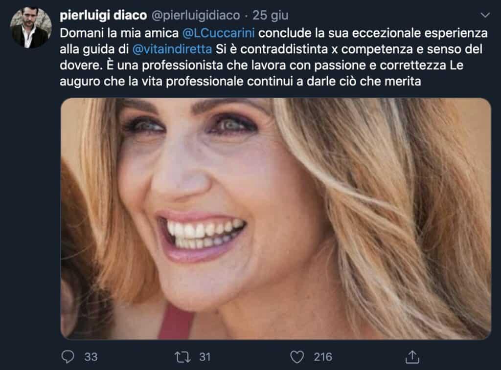 Il tweet di Pierluigi Diaco