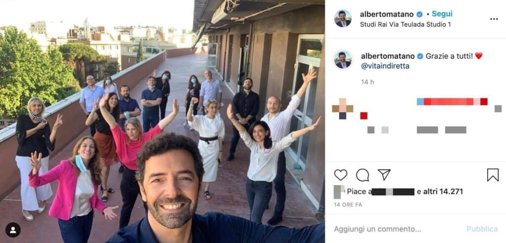 Il post Instagram di Alberto Matano
