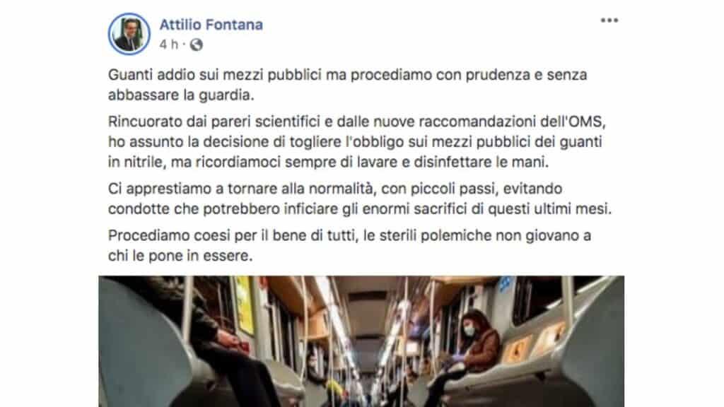 Il post pubblicato da Attilio Fontana su Facebook