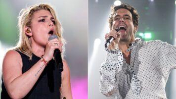 Primi piani dei cantanti Emma Marrone e Mika