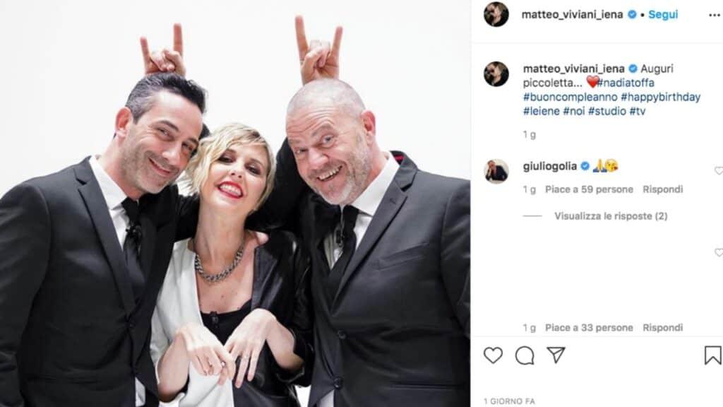 Matteo Viviani, Nadia Toffa e Giulio Golia nello studio de Le Iene