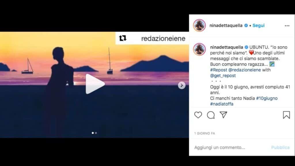 Nadia Toffa in un video pubblicato su instagram da Giovanna Palmieri