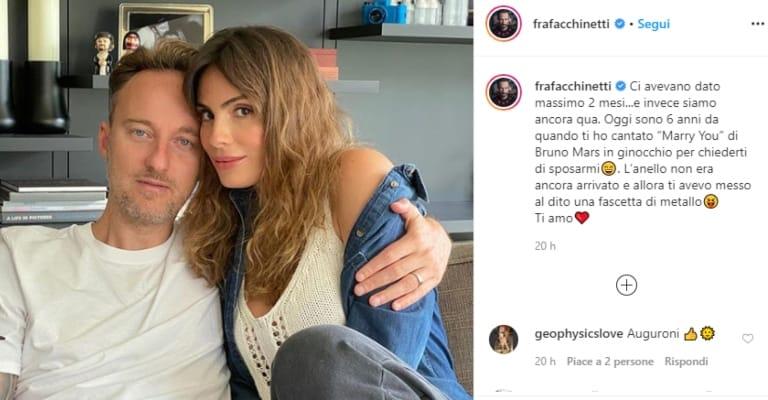 il post instagram di francesco facchinetti con la moglie