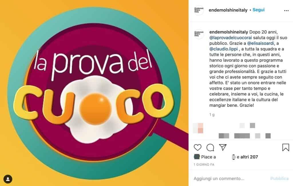 Il post di Endemol su Instagram