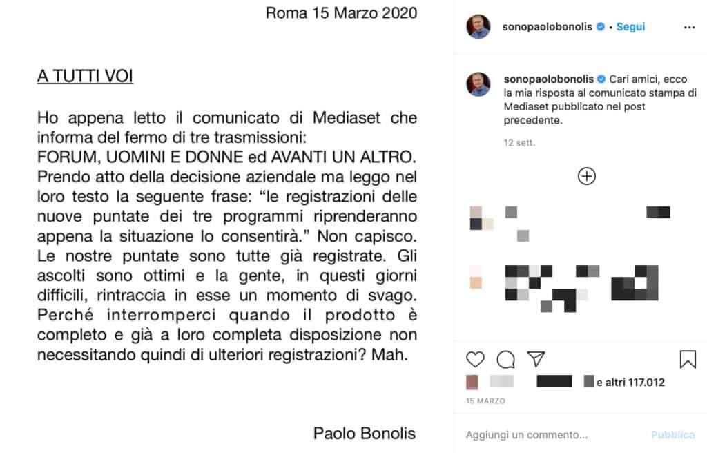 Il post di Paolo Bonolis sullo stop ad Avanti un Altro