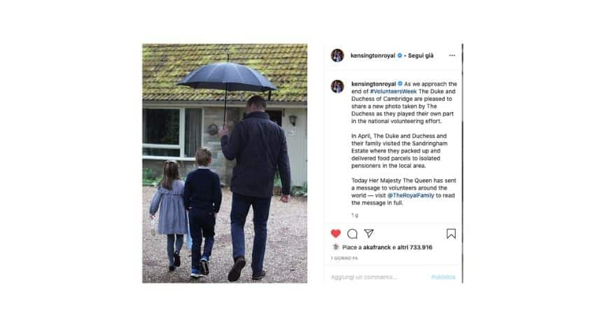 Il post su instagram con il principe william e i figli