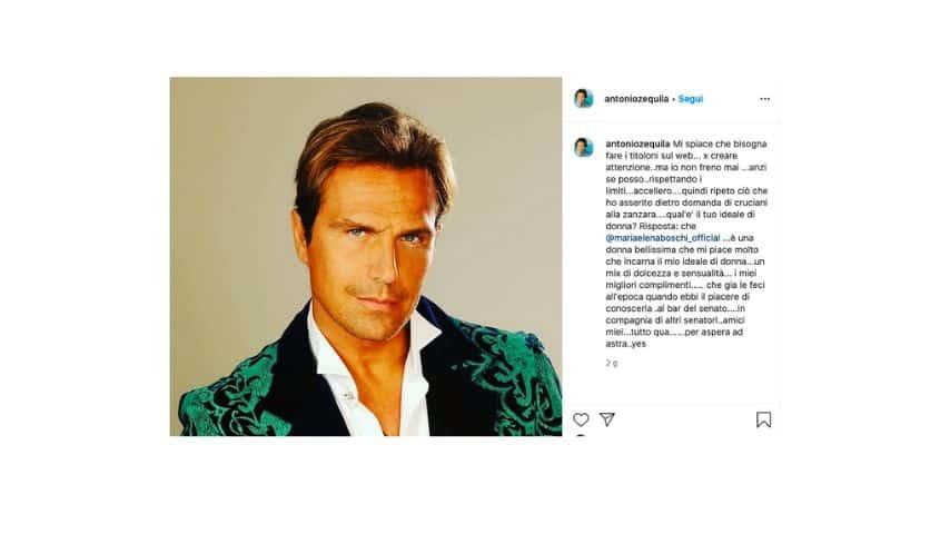 Il post su Instagram di Antonio Zequila sulla questione Boschi