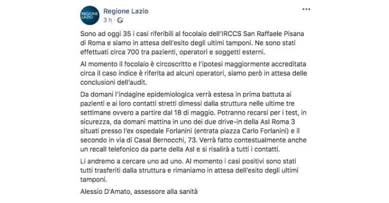 Post della Regione Lazio sul focolaio a Roma