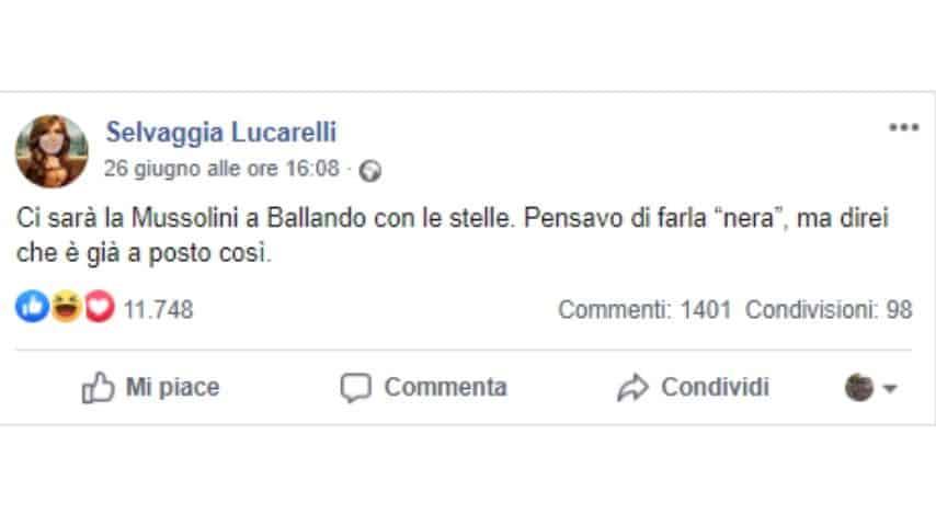 Selvaggia Lucarelli e la battuta su Alessandra Mussolini a Ballando con le stelle
