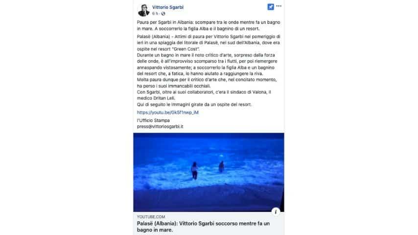Il post del team di Sgarbi su Facebook