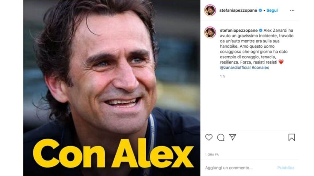 il post su instagram di stefania pezzopane per alex zanardi
