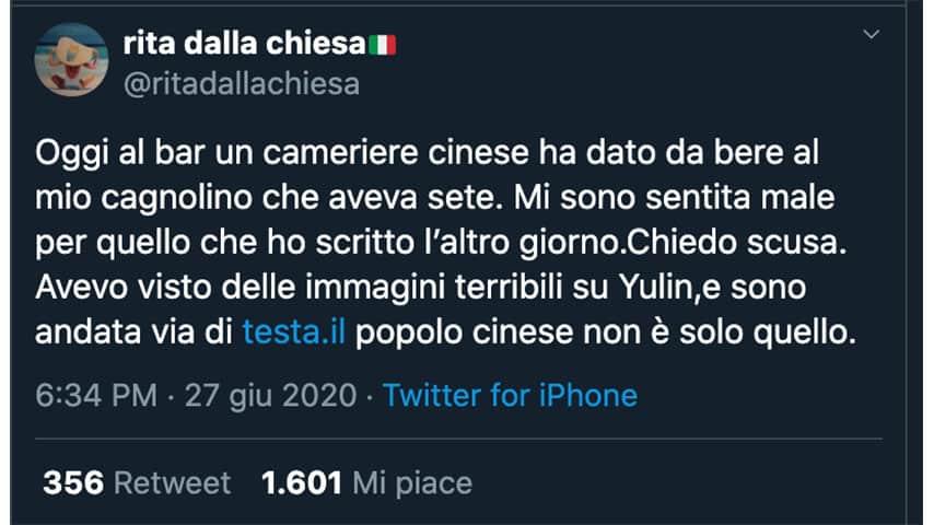 tweet di Rita Dalla Chiesa