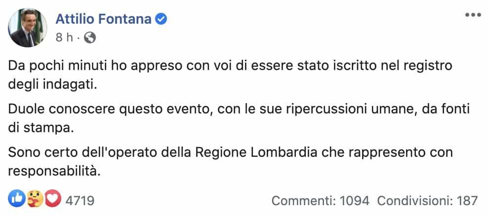Il post di Attilio Fontana