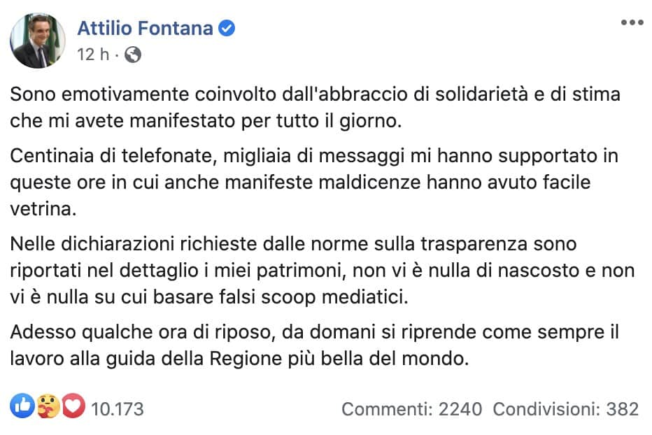 Il post Facebook di Attilio Fontana