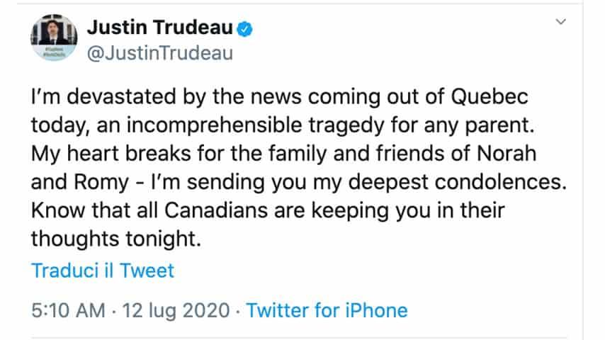 Tweet di Justin Trudeau