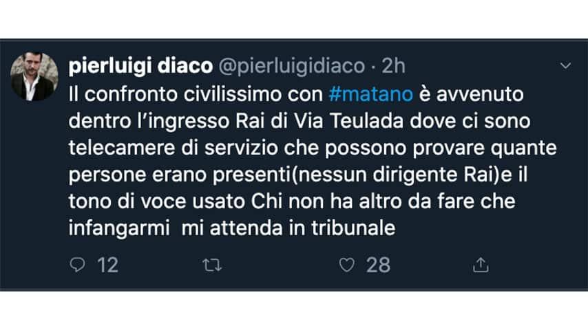 Tweet di Pierluigi Diaco