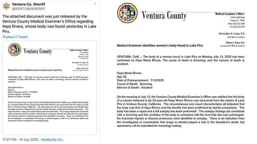 Tweet dello Sceriffo della Contea di Ventura sul caso di Naya Rivera
