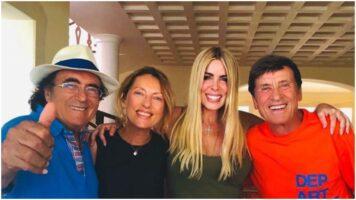 Al Bano, Anna, Loredana Lecciso e Gianni Morandi abbracciati e sorridenti