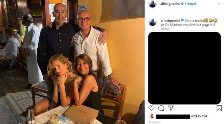 Alfonso Signorini a cena con Alessia Marcuzzi