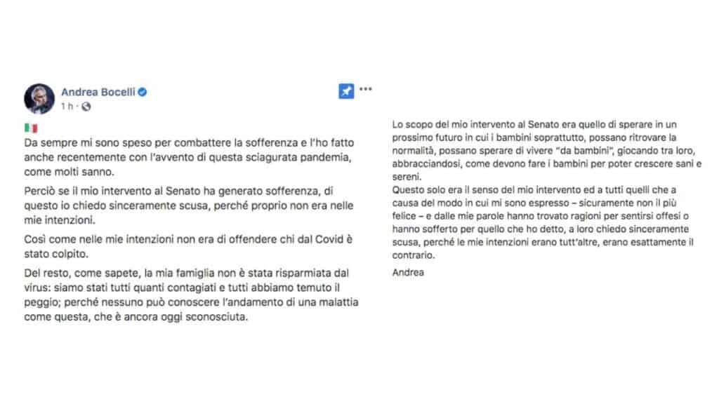 Il post di Andrea Bocelli