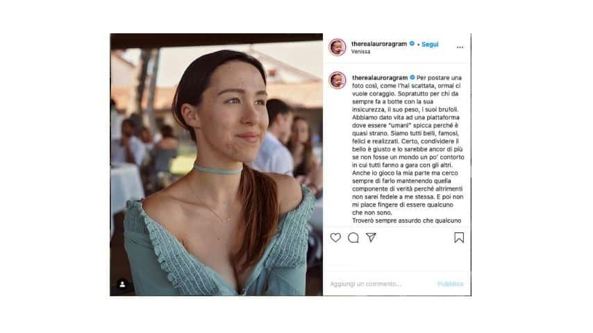 Il post di aurora su Instagram