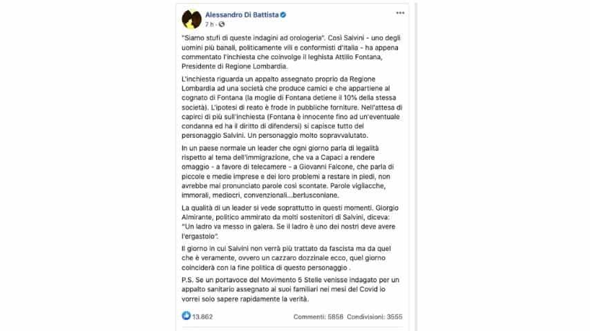 Il post di Alessandro Di Battista contro Salvini