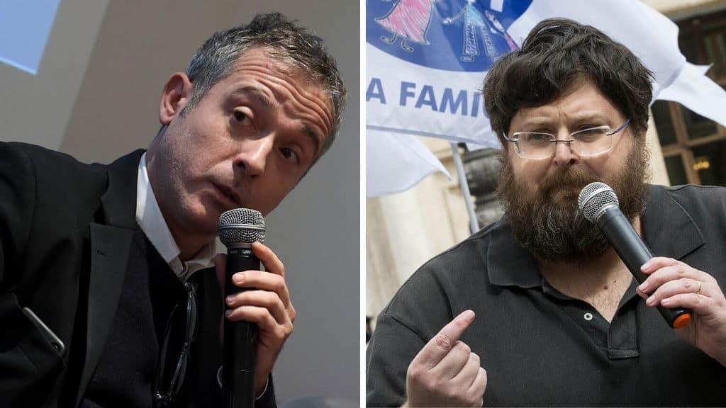 Pierluigi Diaco e Mario Adinolfi con un microfono in mano