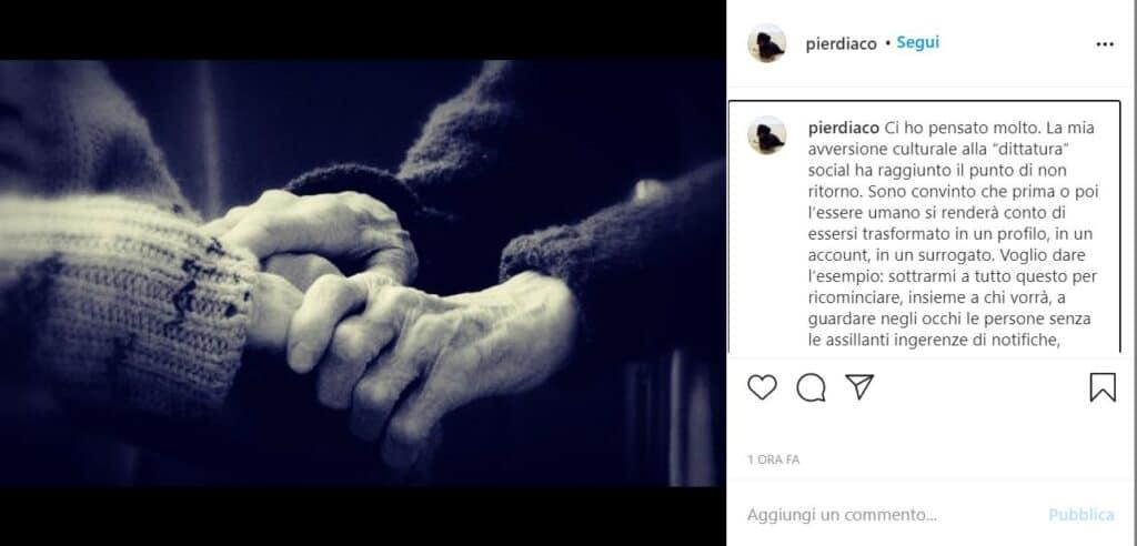 Il post di Diaco su Instagram