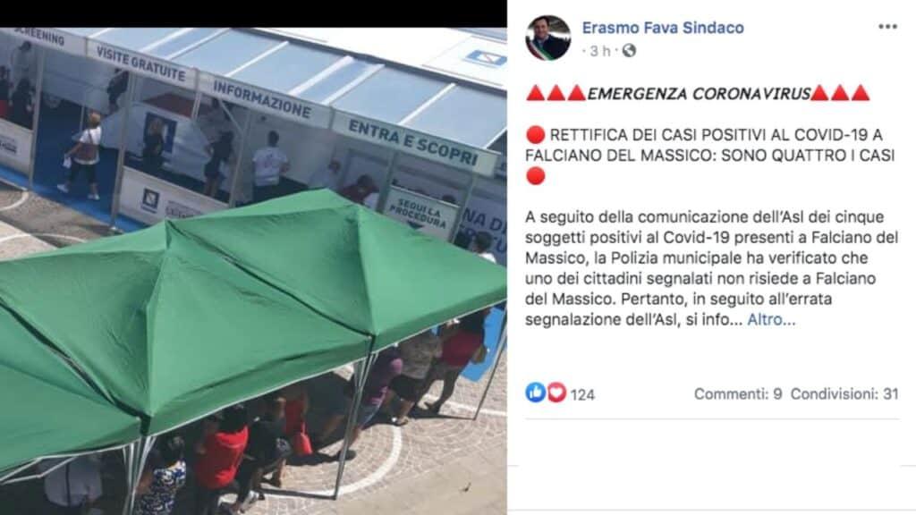 post facebook del sindaco di Falciano del Massico, Erasmo Fava