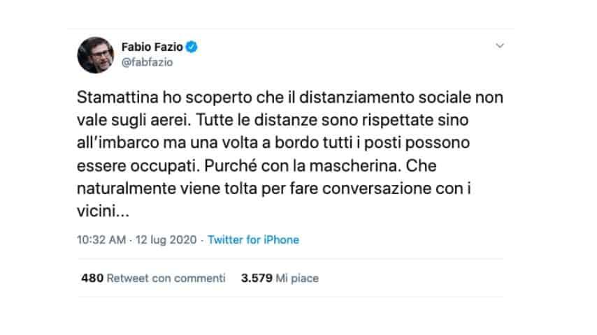 Il tweet di Fabio Fazio