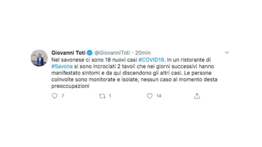 Tweet di Giovanni Toti sui casi di Covid a Savona