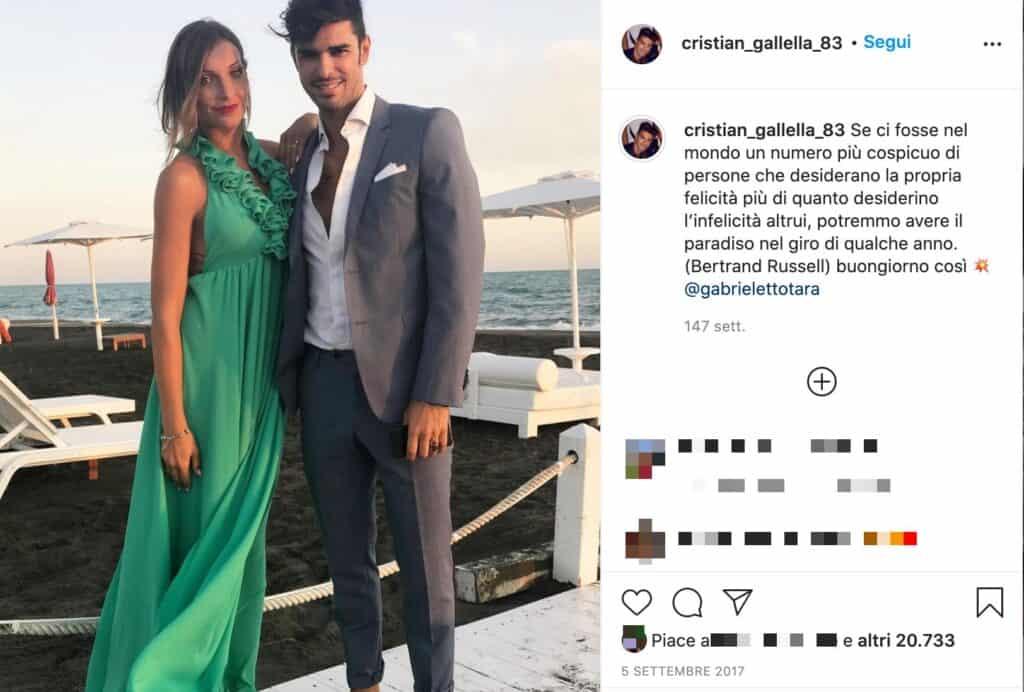 Il post Instagram di Cristian Gallella