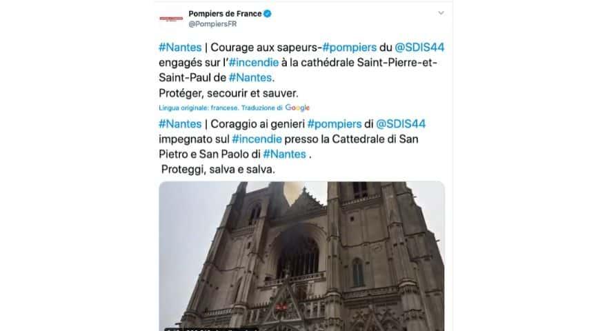 Il post dei pompieri francesi operativi a Nantes