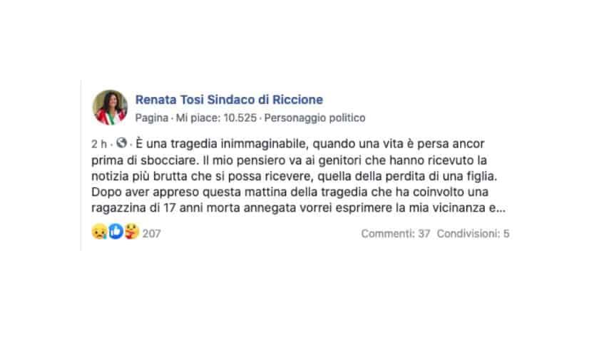 Il post del sindaco di Riccione su facebook