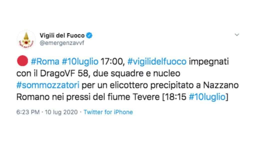 post twitter dei vigili del fuoco sull'elicottero precipitato nel tevere