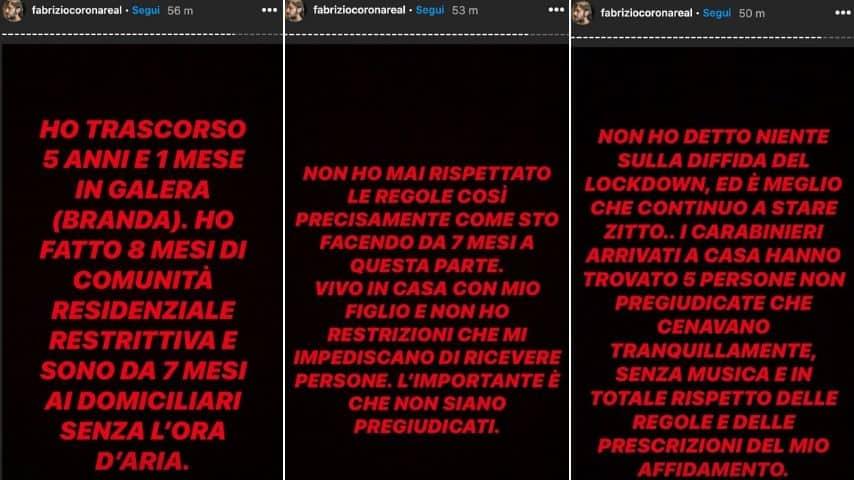 Le Storie su Instagram di Fabrizio Corona