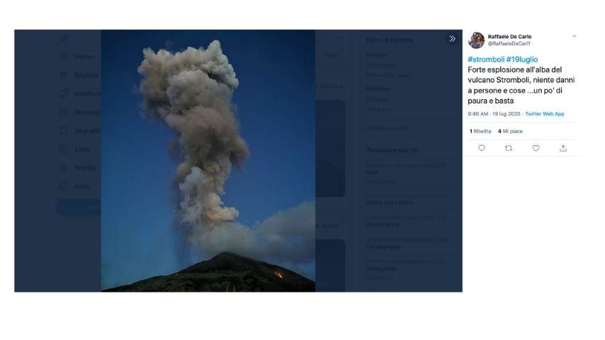 Il tweet dell'eruzione dello stromboli
