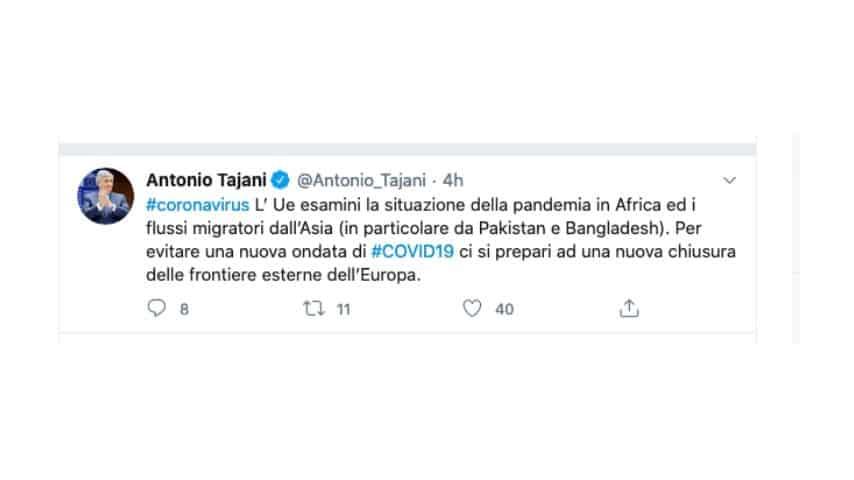 Il tweet di Antonio Tajani